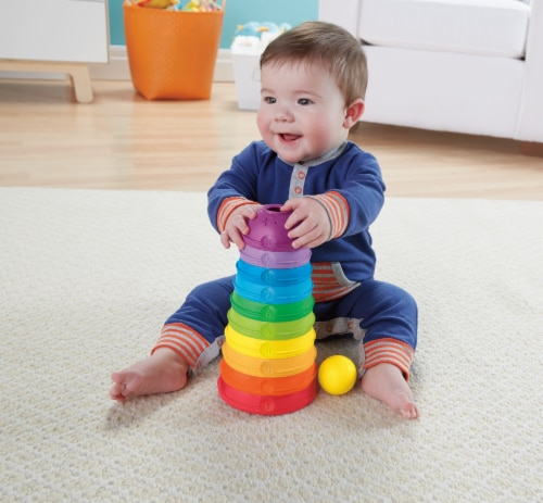 Fisher-Price® Brilliant Basics Stack and Roll Cups Toy Perspective: left