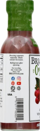 Brianna's Organic Red Wine Vinaigrette Dressing Perspective: left