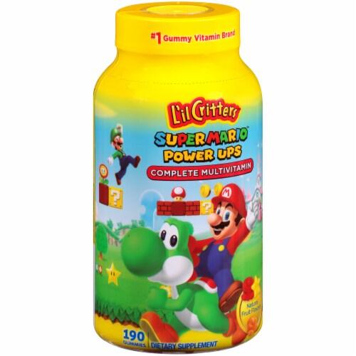 L'il Critter Super Mario Power Ups Fruit Flavored Complete Multivitamin Gummies Perspective: left