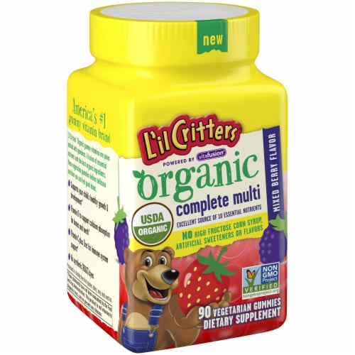 L'il Critters Organic Mixed Berry Flavor Complete Multi Gummies 90 Count Perspective: left