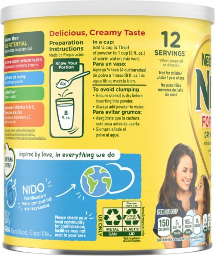 NIDO Fortificada Dry Whole Milk Powdered Drink Mix Perspective: left