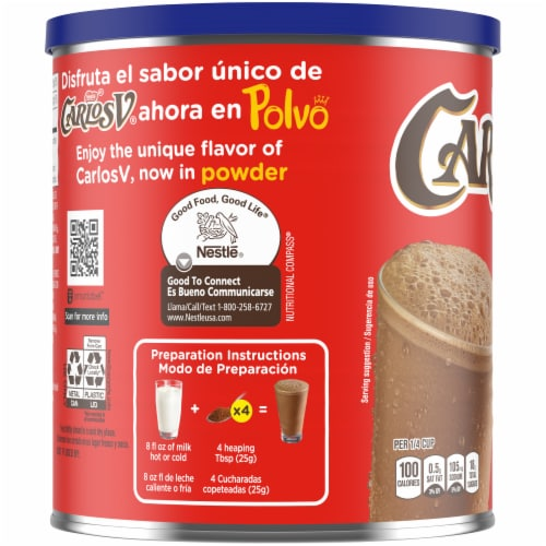 Nestle Carlos V Chocolate Powder Drink Mix Perspective: left