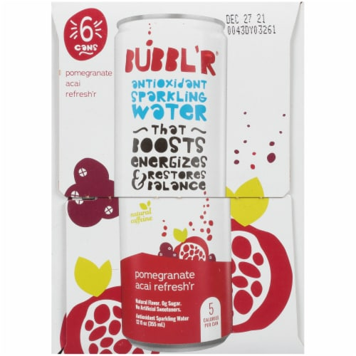 Bubbl'r Pomegranate Acai Refresh'r Antioxidant Sparkling Water Perspective: left