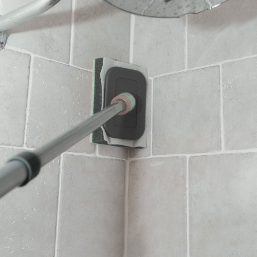 Casabella Extendable Bathroom Shower, Tub, and Tile Scrubber Sponge for Cleaning Perspective: left