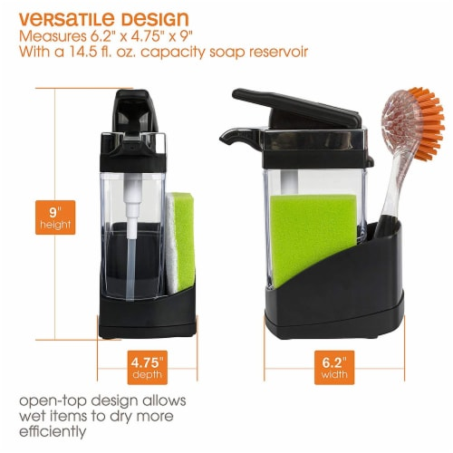 Casabella Chrome Plated Hand Pump Sink Sider Solo with Sponge Compartment, Black Perspective: left