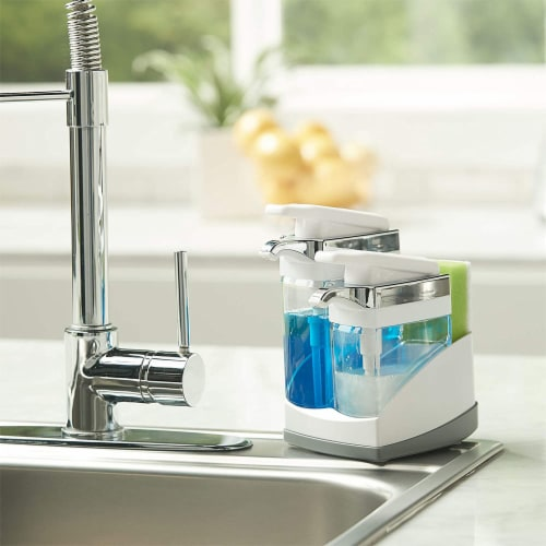 Casabella Chrome Plated Hand Pump Sink Sider Duo with Sponge Compartment, White Perspective: left