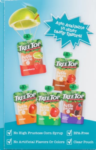 Tree Top Tropical Applesauce Pouch Perspective: left