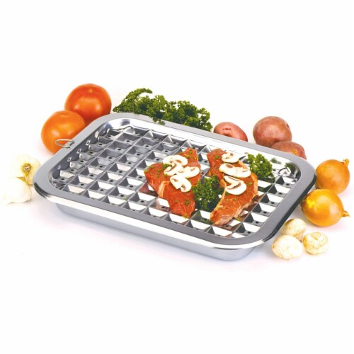 Norpro 2 Piece Stainless Steel Rectangular Oven Roasting Broil Pan and Drip Tray Perspective: left
