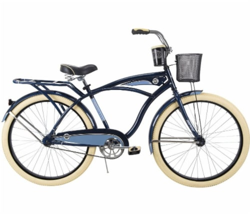 Huffy Deluxe Men's Bicycle - Midnight Blue/Light Blue Perspective: left