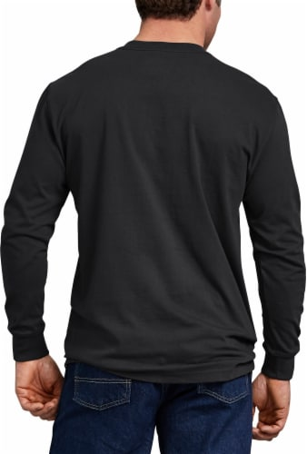 Dickies Men's Heavyweight Long Sleeve Crew Neck T-Shirt - Black Perspective: left