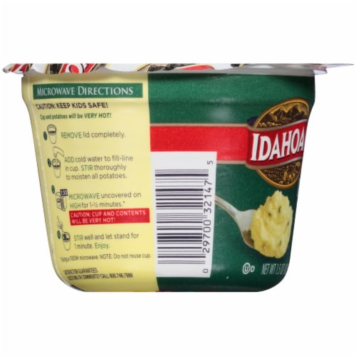 Idahoan Roasted Garlic Mashed Potato Microwavable Cup Perspective: left
