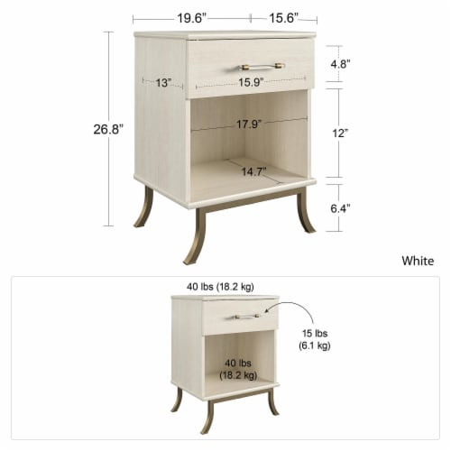 Monarch Hill Clementine White Nightstand Perspective: left