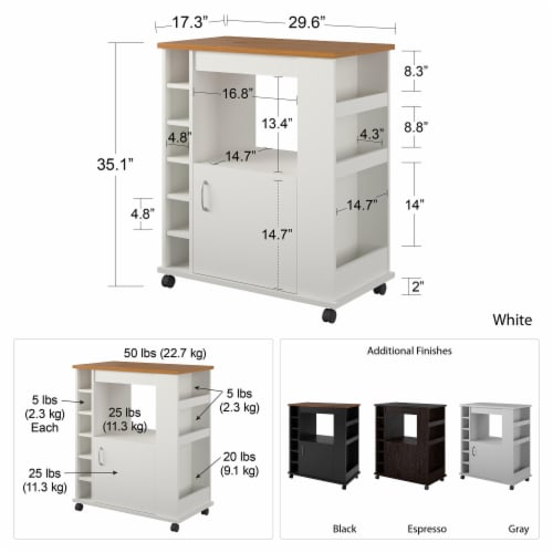Williams Kitchen Cart, White Perspective: left