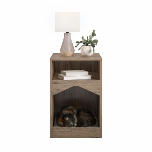 Roscoe Cat House End Table, Rustic Oak Perspective: left