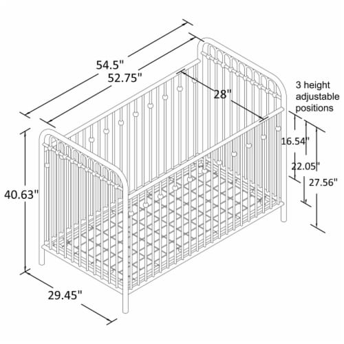 Monarch Hill Ivy Grey Metal Baby Crib Perspective: left