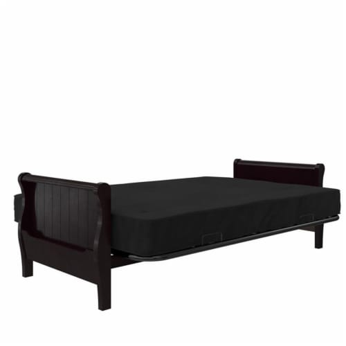 DHP Carson 8 Inch  High Density Polyester Fill Futon Mattress Full Size in Black Perspective: left