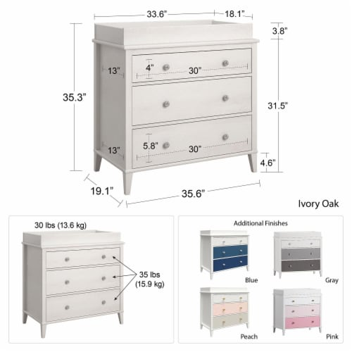 Monarch Hill Poppy 3 Drawer Changing Table, Ivory Oak Perspective: left