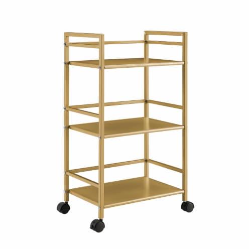Helix 3 Shelf Metal Rolling Utility Cart, Gold Perspective: left
