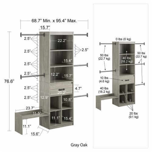 Nova Grow with Me Grey Oak Adjustable Kids' Closet Organizer System Perspective: left