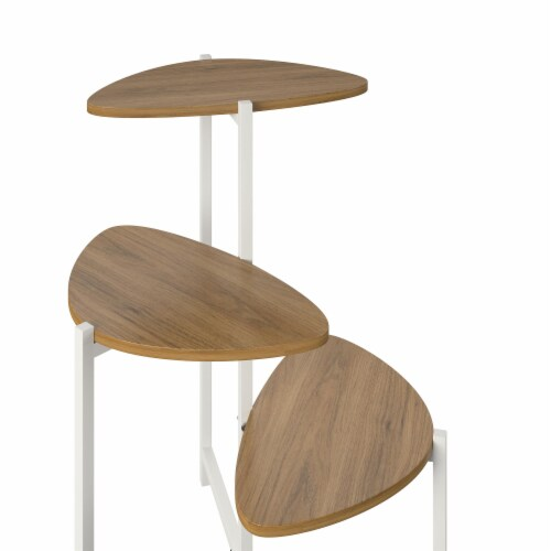 Tallulah Plant Stand, Walnut/White Perspective: left