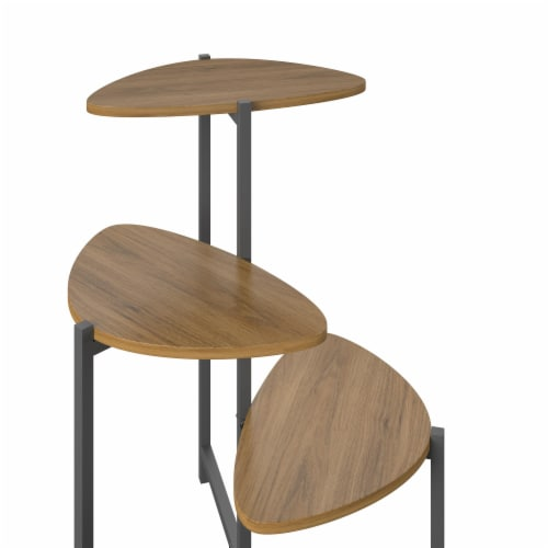 Tallulah Plant Stand, Walnut/Gray Perspective: left