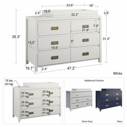 Monarch Hill Haven 6 Drawer White Changing Dresser Perspective: left