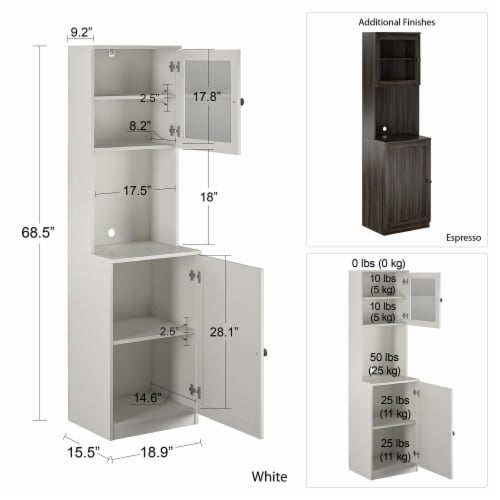 Vienna Tall Bar Cabinet, White Perspective: left