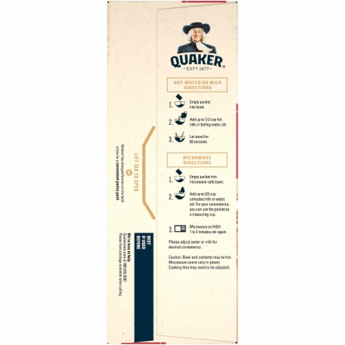 Quaker Breakfast Cereal Original Instant Oatmeal Packets Perspective: left