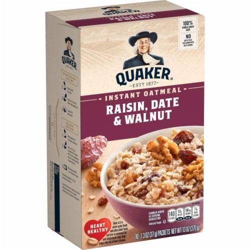 Quaker® Instant Oatmeal Breakfast Cereal Raisin Date Walnut 10 Count Perspective: left