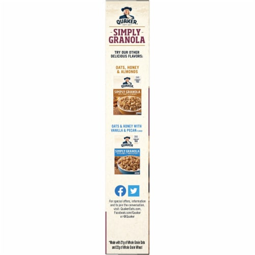 Quaker Simply Granola Oats Honey Raisins and Almonds Breakfast Cereal 28 oz Perspective: left