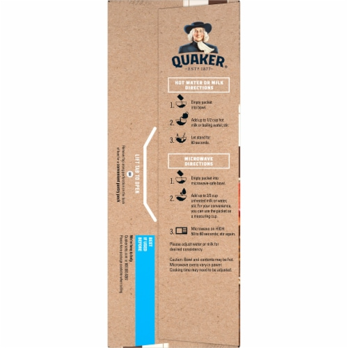 Quaker Instant Oatmeal Breakfast Cereal High Fiber Maple and Brown Sugar Packets Perspective: left