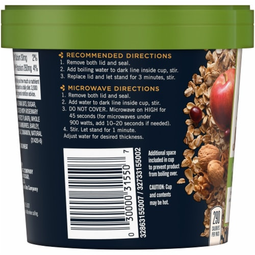 Quaker Real Medleys Apple Walnut Instant Oatmeal Cereal Cup Perspective: left
