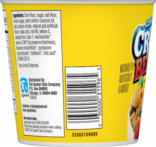 Cap'N Crunch Breakfast Cereal Crunchberries Flavor Corn & Oat Cereal Cup Perspective: left