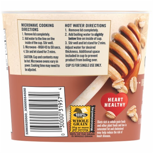 Quaker Instant Oatmeal Express Breakfast Cereal Cup Honey and Almonds Sugar Perspective: left
