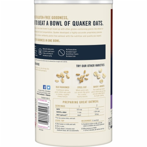 Quaker Gluten Free Quick 1-Minute Oats Perspective: left