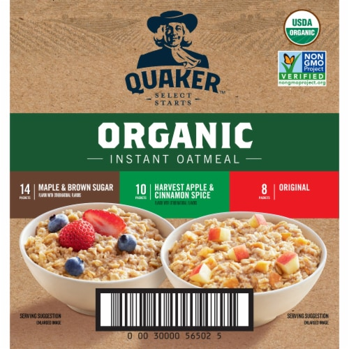 Quaker Organic Instant Oatmeal Packets Variety Pack Perspective: left