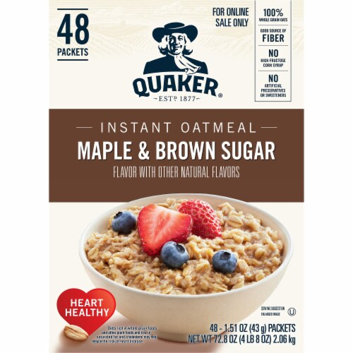 Quaker Instant Maple & Brown Sugar Oatmeal Packets 48 Count Perspective: left