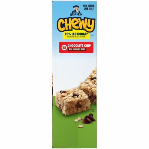 Quaker Chewy Reduced Sugar Chocolate Chip Granola Bars Perspective: left