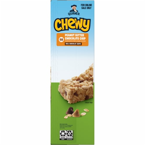 Quaker Chewy Peanut Butter Chocolate Chip Granola Bars Perspective: left