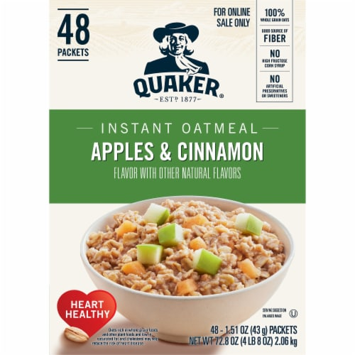 Quaker Apples & Cinnamon Flavored Instant Oatmeal Packets Perspective: left