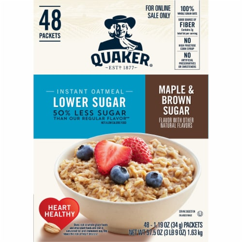 Quaker Lower Sugar Maple & Brown Sugar Instant Oatmeal Packets Perspective: left