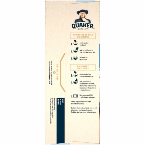 Quaker Blueberry and Cream Instant Oatmeal Packets Perspective: left