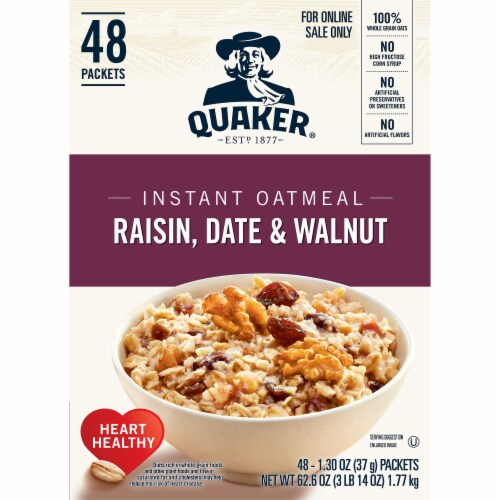 Quaker Raisin Date & Walnut Instant Oatmeal Packets Perspective: left