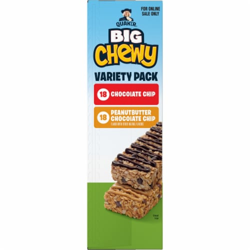 Quaker Big Chewy Chocolate Chip & Peanut Butter Granola Bars Variety Pack Perspective: left