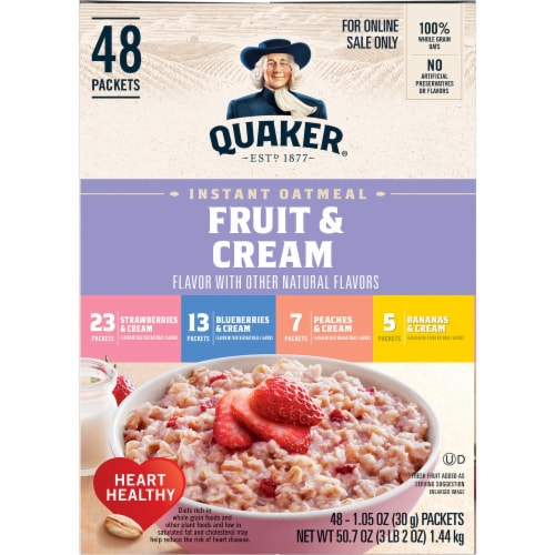 Quaker Fruit & Cream Instant Oatmeal Variety Pack 48 Count Perspective: left