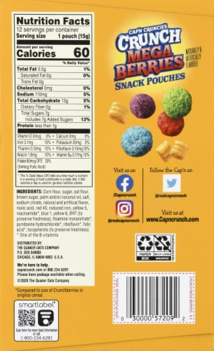 Cap'N Crunch's Crunch Mega Berries Sweetened Corn & Oat Snack Pouches Perspective: left