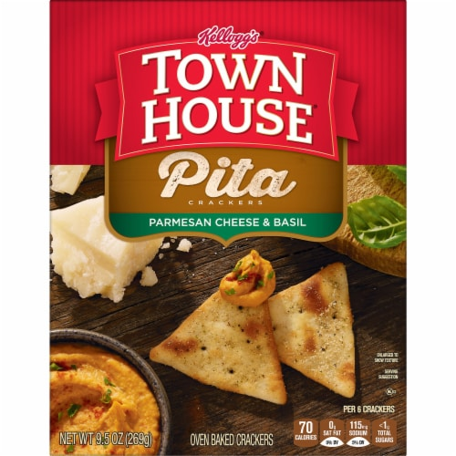 Town House Parmesan Cheese and Basil Pita Crackers Perspective: left