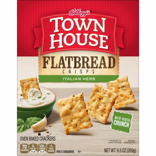 Town House Flatbread Crisps Crackers Italian Herb Perspective: left