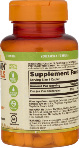 Sundown Naturals Zinc 50 mg Caplets Perspective: left