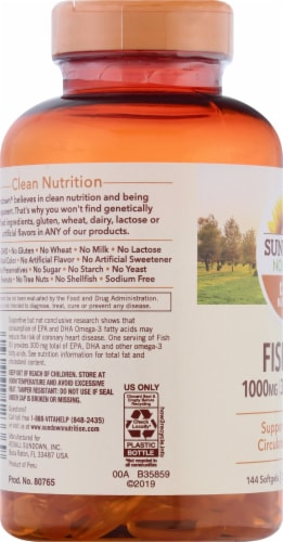 Sundown Naturals Fish Oil Omega-3 Softgels Perspective: left